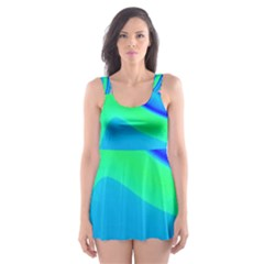 Aurora Color Rainbow Space Blue Sky Skater Dress Swimsuit by Mariart