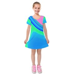 Aurora Color Rainbow Space Blue Sky Kids  Short Sleeve Velvet Dress by Mariart
