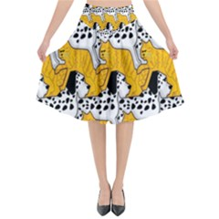 Animals Cat Dog Dalmation Flared Midi Skirt by Mariart