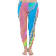 Aurora Color Rainbow Space Blue Sky Purple Yellow Green Pink Classic Winter Leggings by Mariart