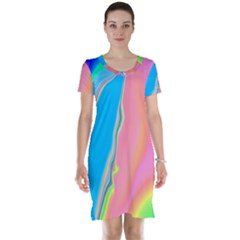 Aurora Color Rainbow Space Blue Sky Purple Yellow Green Pink Short Sleeve Nightdress by Mariart