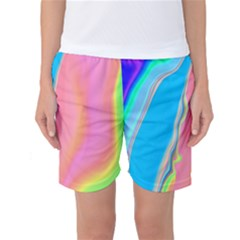 Aurora Color Rainbow Space Blue Sky Purple Yellow Green Pink Women s Basketball Shorts by Mariart