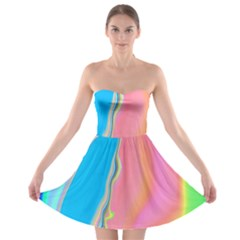 Aurora Color Rainbow Space Blue Sky Purple Yellow Green Pink Strapless Bra Top Dress