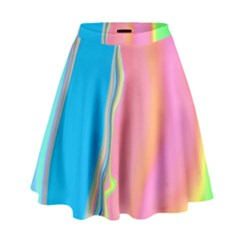 Aurora Color Rainbow Space Blue Sky Purple Yellow Green Pink High Waist Skirt by Mariart