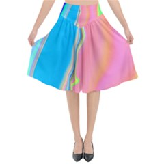 Aurora Color Rainbow Space Blue Sky Purple Yellow Green Pink Flared Midi Skirt