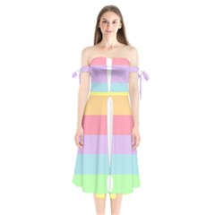 Condigender Flags Shoulder Tie Bardot Midi Dress by Mariart