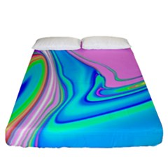 Aurora Color Rainbow Space Blue Sky Purple Yellow Green Pink Red Fitted Sheet (california King Size) by Mariart