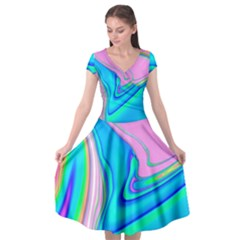 Aurora Color Rainbow Space Blue Sky Purple Yellow Green Pink Red Cap Sleeve Wrap Front Dress