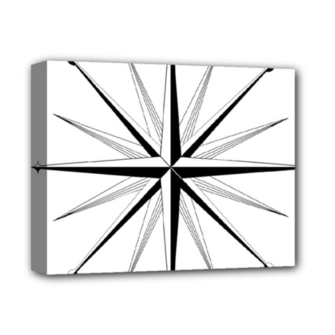Compase Star Rose Black White Deluxe Canvas 14  X 11  by Mariart