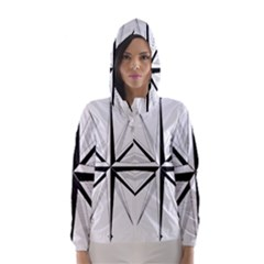 Compase Star Rose Black White Hooded Wind Breaker (women)