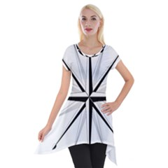 Compase Star Rose Black White Short Sleeve Side Drop Tunic