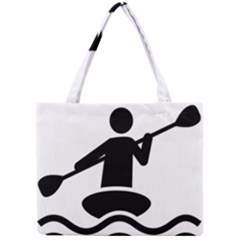 Cropped Kayak Graphic Race Paddle Black Water Sea Wave Beach Mini Tote Bag by Mariart
