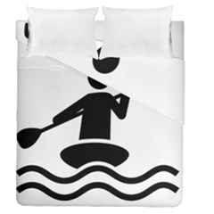 Cropped Kayak Graphic Race Paddle Black Water Sea Wave Beach Duvet Cover Double Side (queen Size) by Mariart