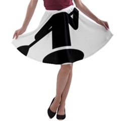 Cropped Kayak Graphic Race Paddle Black Water Sea Wave Beach A Line Skater Skirt by Mariart