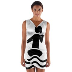 Cropped Kayak Graphic Race Paddle Black Water Sea Wave Beach Wrap Front Bodycon Dress