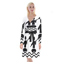 Cropped Kayak Graphic Race Paddle Black Water Sea Wave Beach Long Sleeve Velvet Front Wrap Dress by Mariart