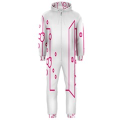Deep Clean Bubbel Door Pink Polka Circle Hooded Jumpsuit (men)  by Mariart