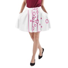 Deep Clean Bubbel Door Pink Polka Circle A Line Pocket Skirt by Mariart