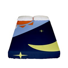 Day Night Moon Stars Cloud Stars Fitted Sheet (full/ Double Size) by Mariart