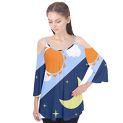 Day Night Moon Stars Cloud Stars Flutter Tees by Mariart