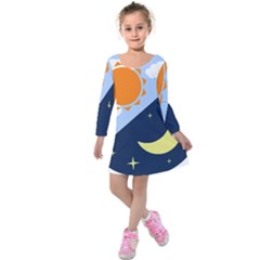 Day Night Moon Stars Cloud Stars Kids  Long Sleeve Velvet Dress by Mariart