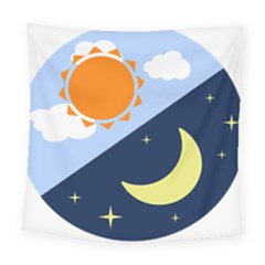 Day Night Moon Stars Cloud Stars Square Tapestry (large) by Mariart