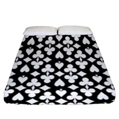 Dark Horse Playing Card Black White Fitted Sheet (king Size) by Mariart