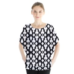 Dark Horse Playing Card Black White Blouse by Mariart