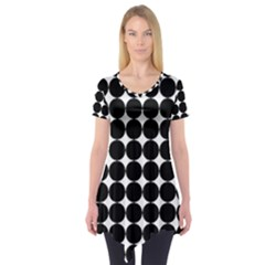 Dotted Pattern Png Dots Square Grid Abuse Black Short Sleeve Tunic  by Mariart