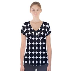Dotted Pattern Png Dots Square Grid Abuse Black Short Sleeve Front Detail Top by Mariart