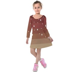 Fawn Gender Flags Polka Space Brown Kids  Long Sleeve Velvet Dress by Mariart