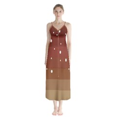 Fawn Gender Flags Polka Space Brown Chiffon Maxi Dress by Mariart