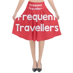 Frequent Travellers Red Flared Midi Skirt