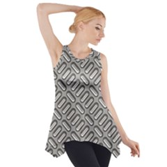 Capsul Another Grey Diamond Metal Texture Side Drop Tank Tunic by Mariart