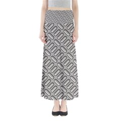 Capsul Another Grey Diamond Metal Texture Maxi Skirts by Mariart