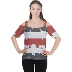 Girl Flags Plaid Red Black Women s Cutout Shoulder Tee by Mariart