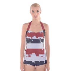 Girl Flags Plaid Red Black Boyleg Halter Swimsuit  by Mariart