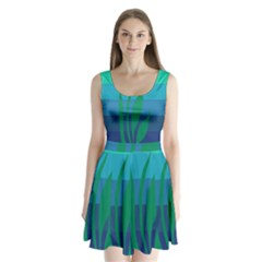 Gender Sea Flags Leaf Split Back Mini Dress