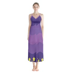 Glimragender Flags Wave Waves Chevron Purple Blue Star Yellow Space Chiffon Maxi Dress