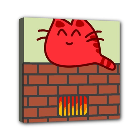 Happy Cat Fire Animals Cute Red Mini Canvas 6  X 6  by Mariart