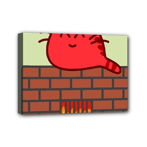 Happy Cat Fire Animals Cute Red Mini Canvas 7  X 5  by Mariart