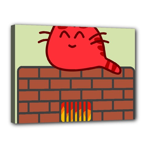 Happy Cat Fire Animals Cute Red Canvas 16  X 12  by Mariart