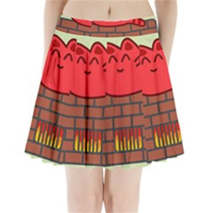 Happy Cat Fire Animals Cute Red Pleated Mini Skirt
