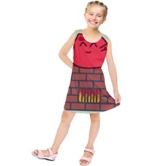 Happy Cat Fire Animals Cute Red Kids  Tunic Dress by Mariart