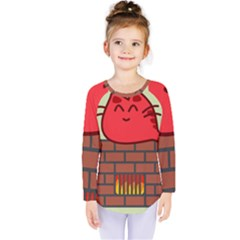 Happy Cat Fire Animals Cute Red Kids  Long Sleeve Tee by Mariart