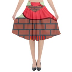 Happy Cat Fire Animals Cute Red Flared Midi Skirt
