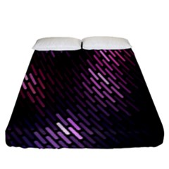 Light Lines Purple Black Fitted Sheet (king Size) by Mariart