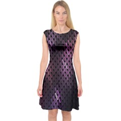 Light Lines Purple Black Capsleeve Midi Dress by Mariart
