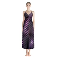 Light Lines Purple Black Chiffon Maxi Dress by Mariart