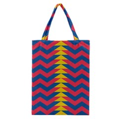 Lllustration Geometric Red Blue Yellow Chevron Wave Line Classic Tote Bag by Mariart